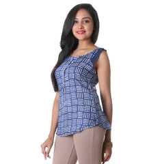eSTYLe Blue Depths Contrast Printed Rayon Western Top