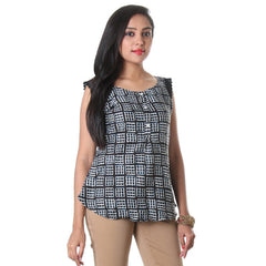 Jet Black Buttoned Placket Printed Rayon Modern Top From eSTYLe