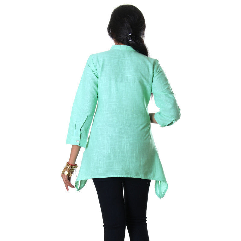Ice Green V-Neck Collared Stylish Top From eSTYLe