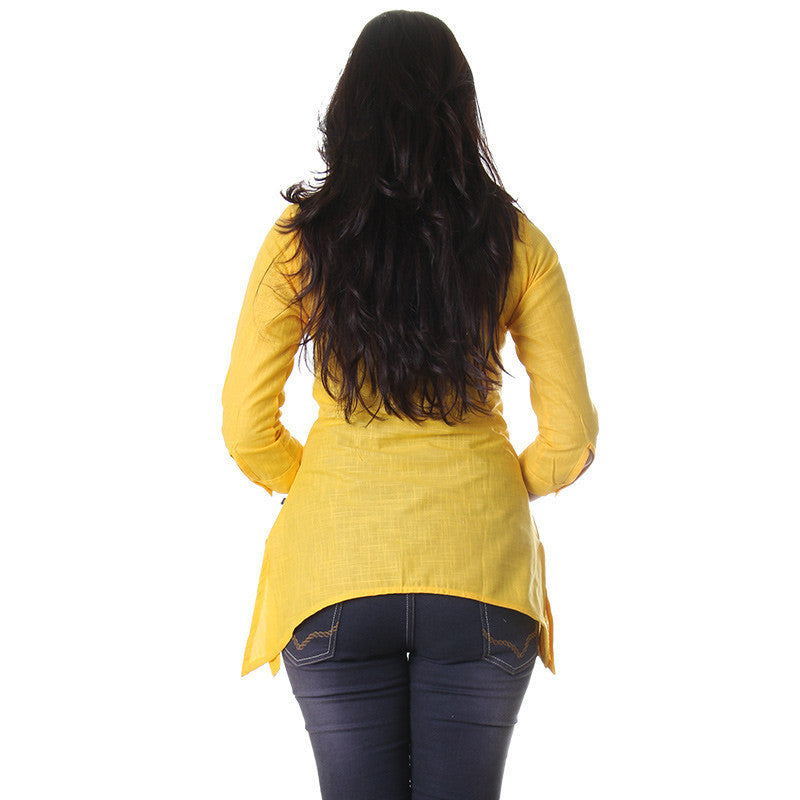 eSTYLe Dafffodil Yellow V-Neck Collared Casual Top