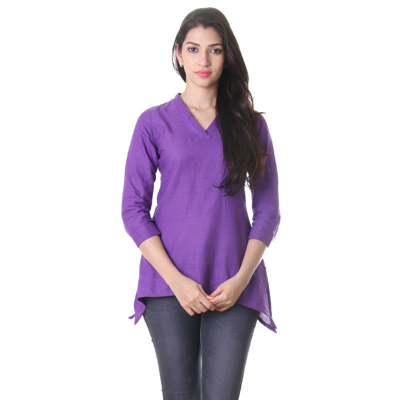 eSTYLe Deep Lavender V-Neck Collared Trendy Top