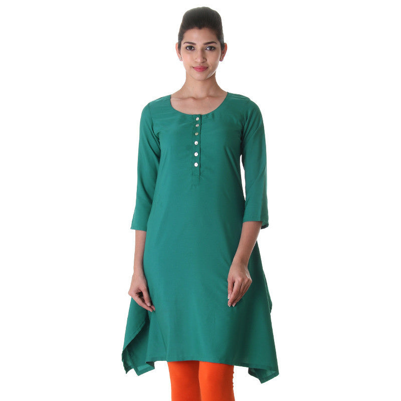 Teal Blue Flared Kurta From eSTYLe