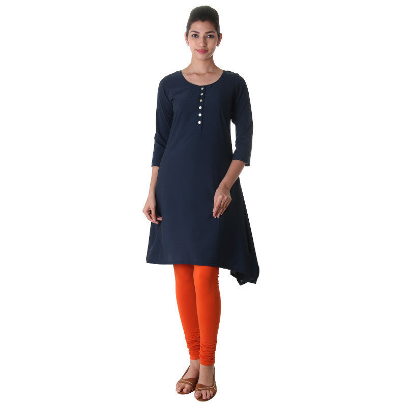 eSTYLe Mood Indigo Round Neck With Placket Polyster Kurta