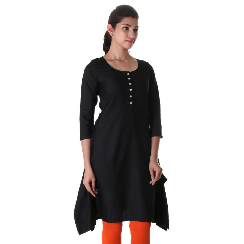 Pirate Black Stylish Placket Kurta From eSTYLe