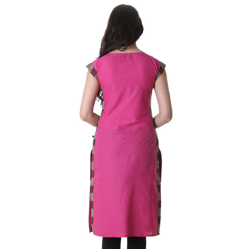 eSTYLe Fadango Pink Boat Neck Kurti With Printed Side Pannel.