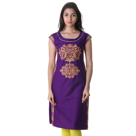 Bright Violet Boat Neck Kurti With Contrast Threadcord Piping And Printed Side Pannel.