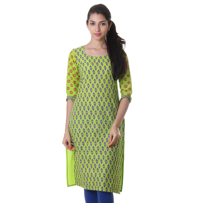 Grass Green Casual Printed Cotton Kurta From eSTYLe