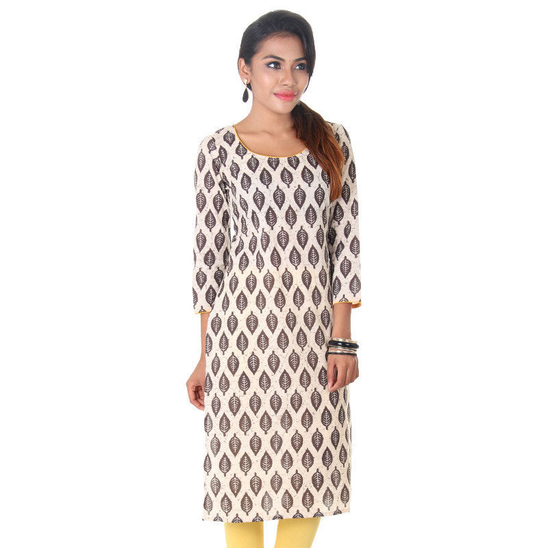 Beige & Deep Brown Leaf Prints Straight-Cut Cotton Kurta From eSTYLe