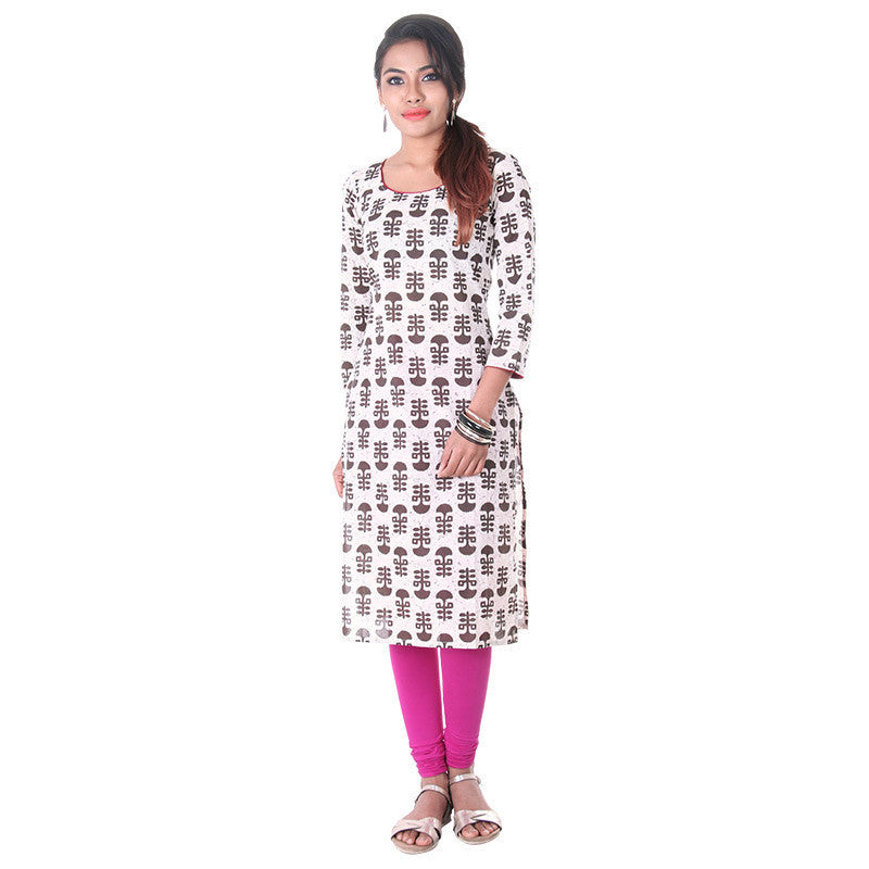 White Swan N' Deep Brown Floral Motifs Straight-Cut Kurta From eSTYLe