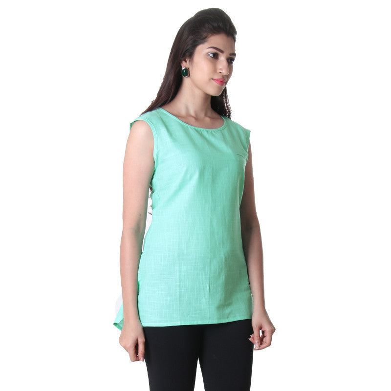 Lucite green Solid Slub Cotton Round Neck Tunic Top From eSTYLe.