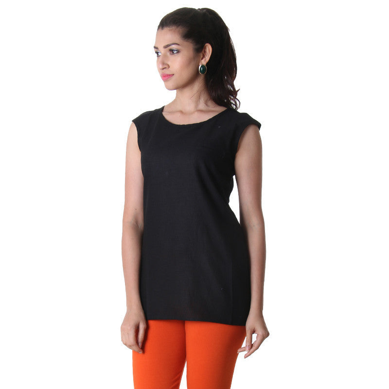 Jet Black High-Low Sleeveless Tunic Top From eSTYLe.