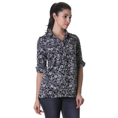 eSTYLe Jet Black Folded Collar Polyster Shirt