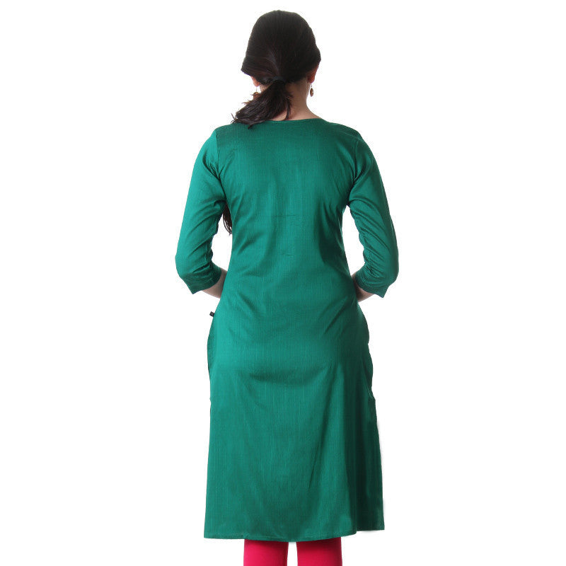 Cadmium Green Art-Silk Plain Classic Kurta From eSTYLe