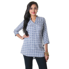 eSTYLe Blue Indigo Stand Collar With Box Printed Design Top