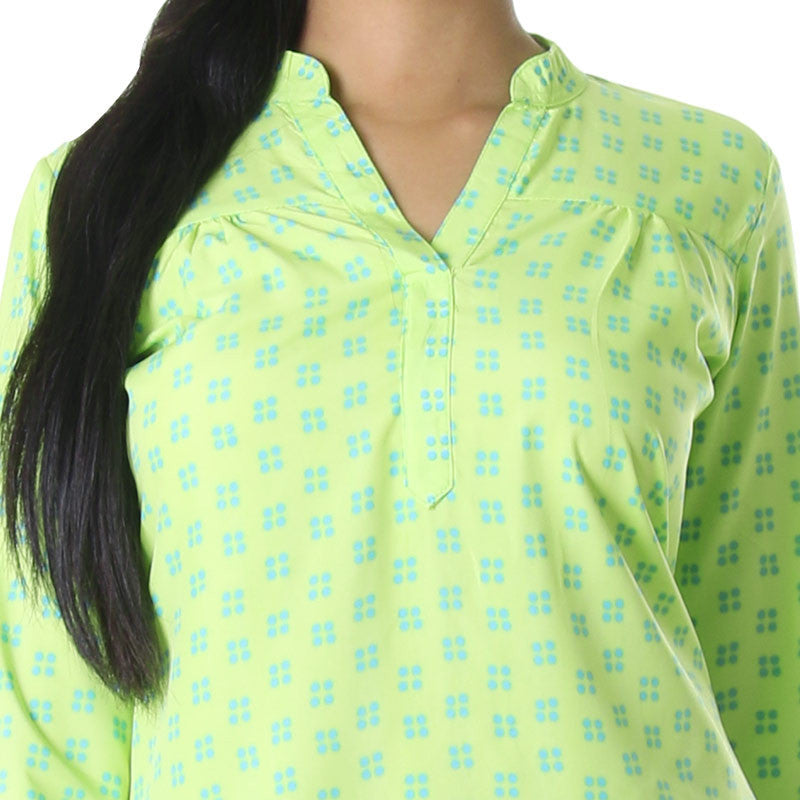 Sharp Green With Scuba Blue Printed Design Top From eSTYLe