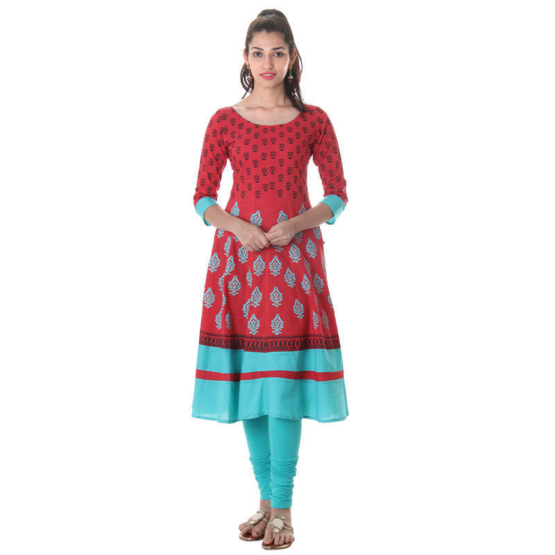 eSTYLe Tomato Red Contrast Matching Printed Design Astonishing Anarkali