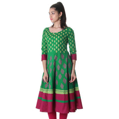 GreenLake Beautiful Floral Design Printed Pure Cotton Anarkali From eSTYLe