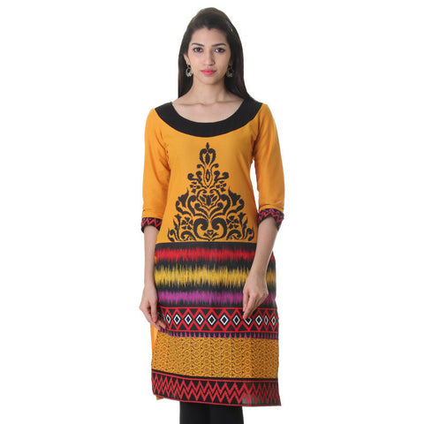 eSTYLe Dark Cheddar Floral Design Printed Cotton Kurta