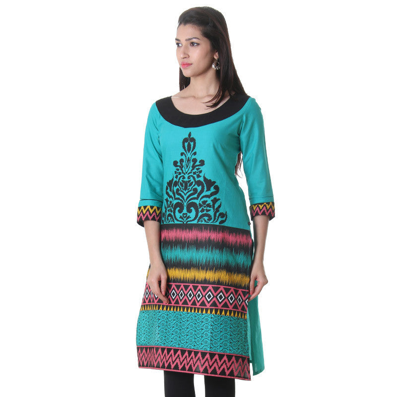 Tile Blue Flower Printed Cotton Stylish Kurta From eSTYLe