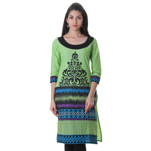 eSTYLe Opaline Green Fabulously Printed Cotton Kurta