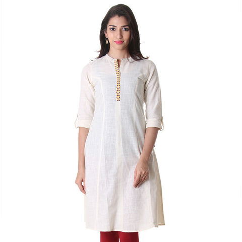 Winter White Slub Cotton Anarkali With Elegant Embroidery From eSTYLe