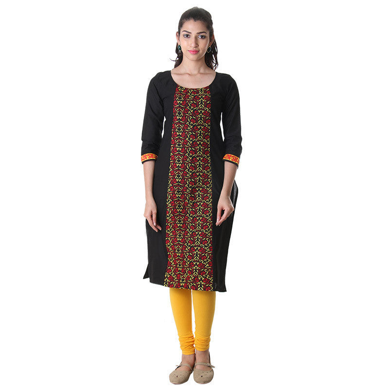 Pirate Black Round Neck Kurti With Alluring Embroidery On The Centre Pannel.
