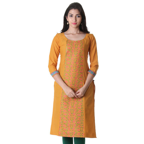 Cadmium Yellow Round Neck Kurti With Alluring Embroidery On The Centre Pannel.