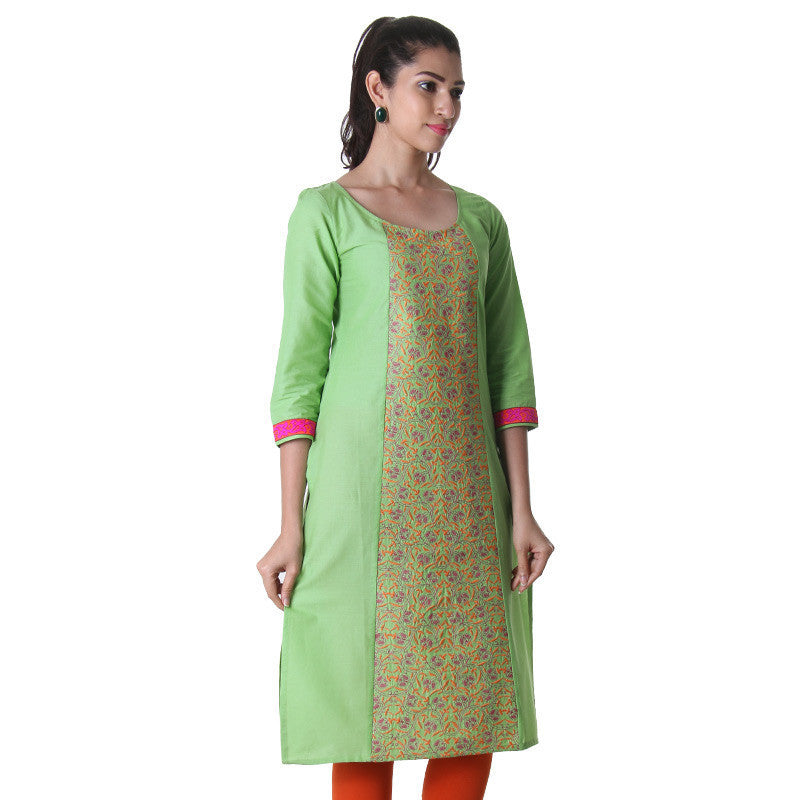 Opaline Green Round Neck Kurti With Alluring Embroidery On The Centre Pannel.