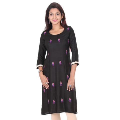 Pirate Black With Tri-Colour Floral Embroidered Slub-Rayon Kurta From eSTYLe