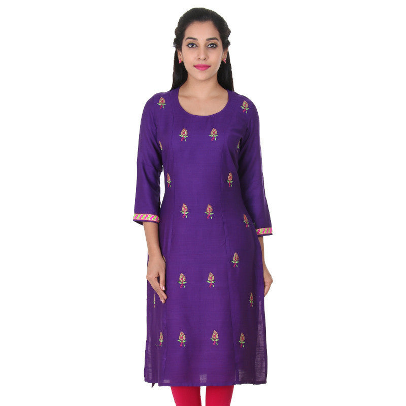 eSTYLe Royal Lilac All-Over Embroidered & Cuff Embroidered Slub-Rayon Kurta