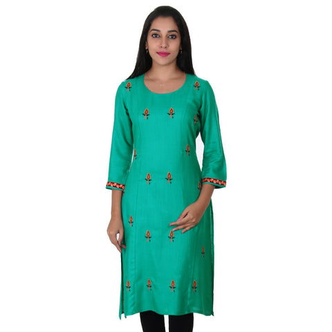 Spectra Green All-Over Embroidered & Cuff Embroided Slub-Rayon Kurta From eSTYLe