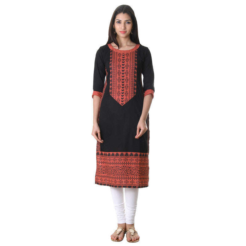 eSTYLe Jet Black Cotton Printed Ethnic Kurta