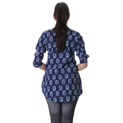eSTYLe Navy Blue Cotton Printed Stylish Tunic