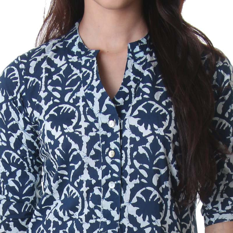 True Blue Cotton Printed Trendy Tunic  From eSTYLe
