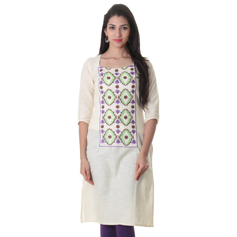 Antique White Embroidered Ethnic Style Kurta From eSTYLe