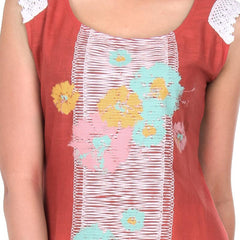Rose Of Sharon Cotton Kurta With Floral Motifs Central Panel