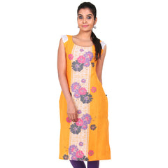 eSTYLe Radiant Yellow Straight-Cut Kurta With Boat Neckline