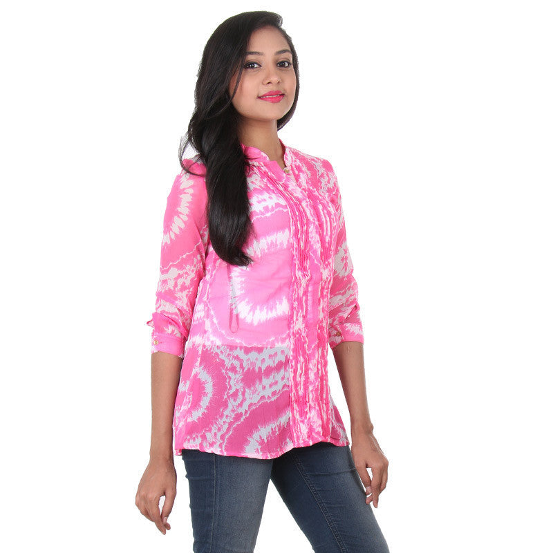 Azalea Pink Stand Collar & Beautiful Pin Tuck Shirt From eSTYLe