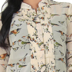 eSTYLe Cloud Cream Stand Collar & Fabulous Bird Print Design Shirt