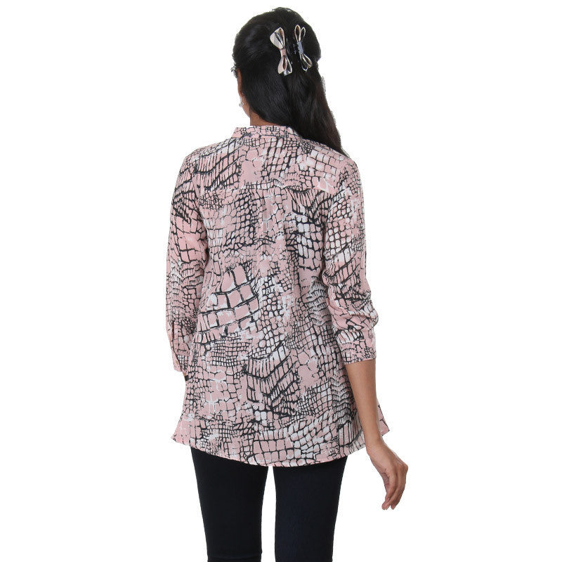 Peach Pearl Colour Mix With Black & White Box Print Design Casual Shirt From eSTYLe