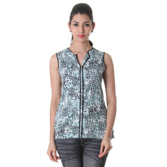 eSTYLe Multi Colour Printed Polyster Western Top