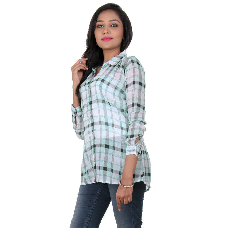 Beach Glass Colour With Black Checked Design Modern Shirt From eSTYLe