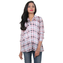 eSTYLe Strawberry Cream Colour With Black Checked Design Stylish Shirt
