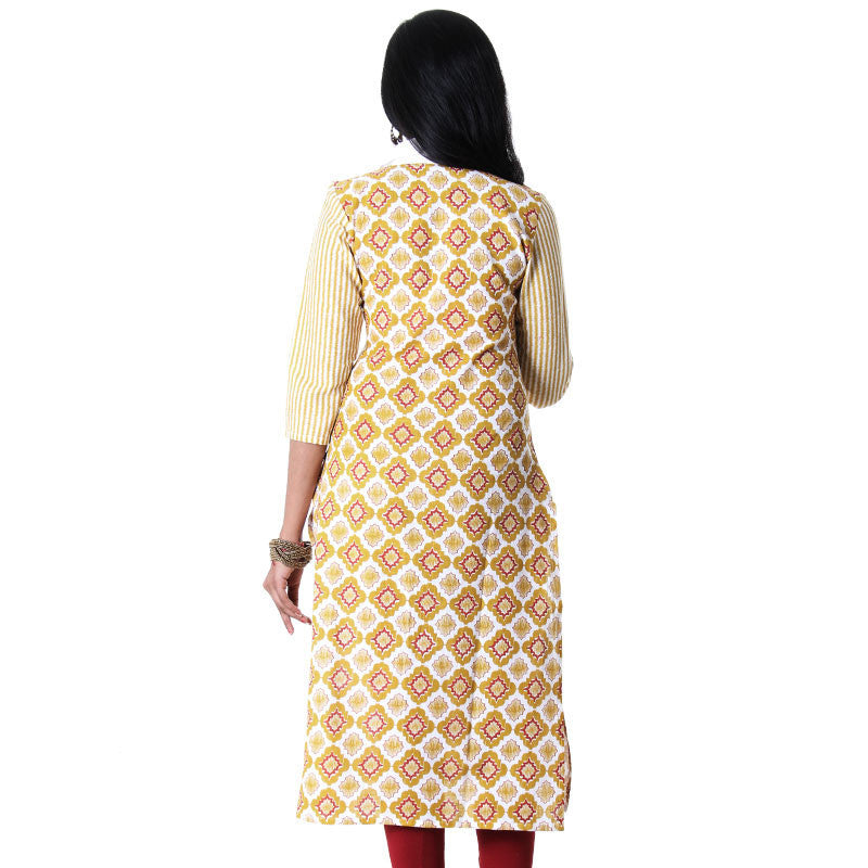 eSTYLe Bright White With Golden Yellow Printed Slub-Cotton 3/4th Sleeves Kurta