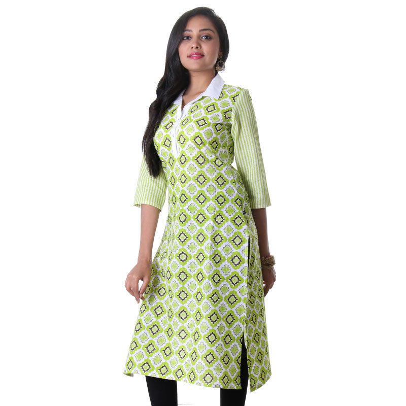eSTYLe Bright White With Wild Lime Combinated Print Design Slub-Cotton Ladies Kurta