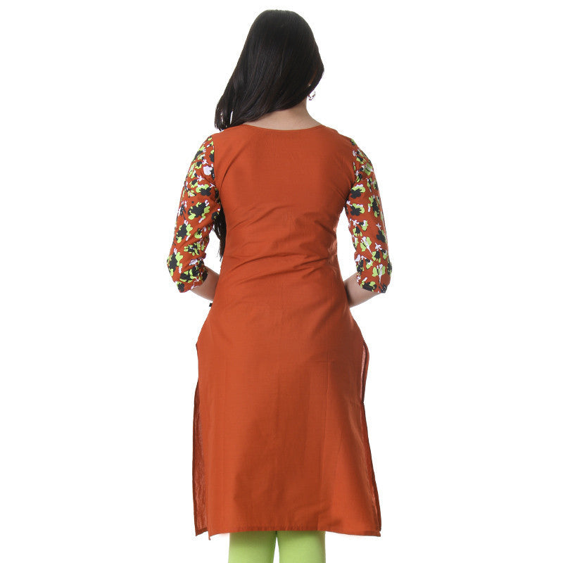 eSTYLe Red Clay Fabulous Printed Cotton Kurta