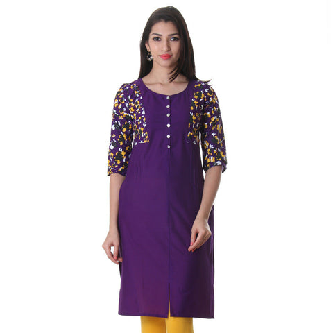 Pansy Purple Printed Cotton Kurta From eSTYLe