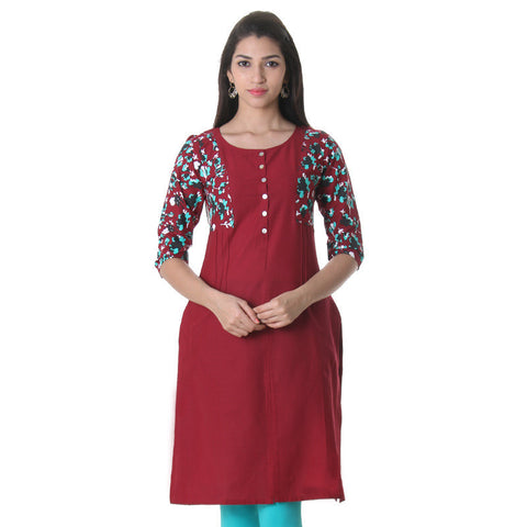 eSTYLe Crimson Red Triple Colour Printed Cotton Kurta