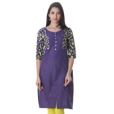 Parachute Purple Printed Cotton Trendy Kurta From eSTYLe