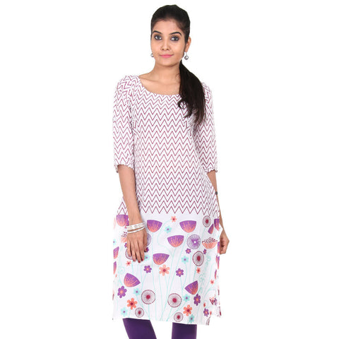 eSTYLe Snow White Cotton Kurta With All Over Zig-Zag Motifs